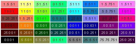 Rgba цвета таблица